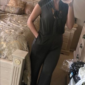 BCBG Gray Silk Jumpsuit